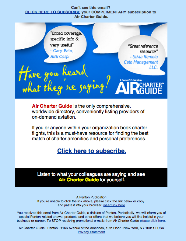 Air Charter Guide Email